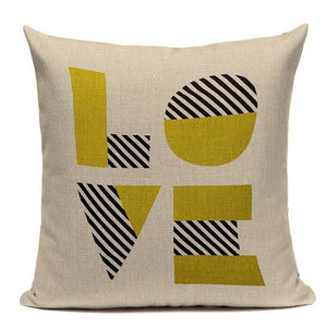 Fashionable Throw Pillow Cover LOVE Yellow and Black 18 x 18 inch - Premium Pillow Store