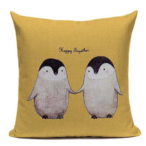 Fashionable Throw Pillow Cover Cute Penguins holding Hands 18 x 18 inch - Premium Pillow Store
