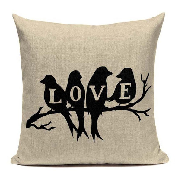 Fashionable Throw Pillow Cover LOVE Birds on a Branch 18 x 18 inch - Premium Pillow Store