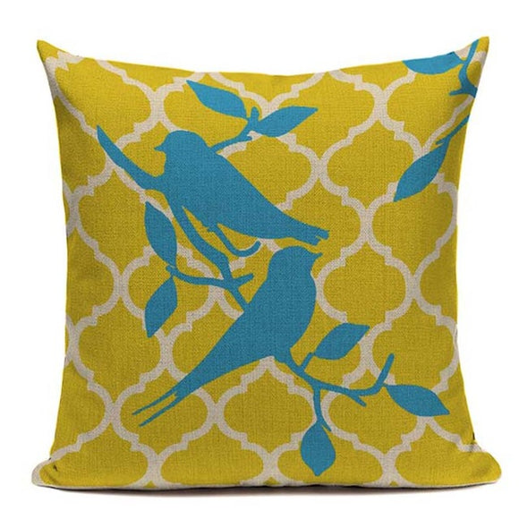 Fashionable Throw Pillow Cover Yellow with Blue Birds 18 x 18 inch - Premium Pillow Store