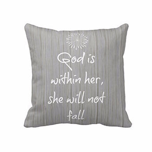 """She will not fall"" Quote Throw Pillow Cover - Premium Pillow Store"