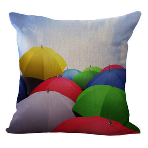 Under cover, Umbrellas in the crowd Pillow cover 18x18 - Premium Pillow Store