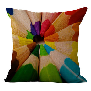 Colored pencils color swirl, Pillow cover 18x18 - Premium Pillow Store