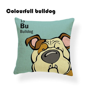 Colorful Cartoon Dog Print Bulldog 18 x 18 inch by Colorful Bulldog - Premium Pillow Store