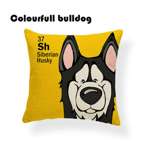 Colorful Cartoon Dog Siberian Husky Print 18 x 18 inch by Colorful Bulldog - Premium Pillow Store