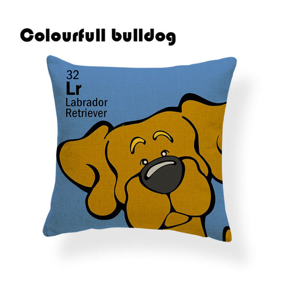 Colorful Cartoon Dog Print Labrador Retriever 18 x 18 inch by Colorful Bulldog - Premium Pillow Store