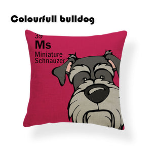 Colorful Cartoon Dog Print Miniature Schnauzer 18 x 18 inch by Colorful Bulldog - Premium Pillow Store