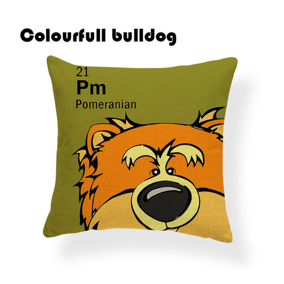 Colorful Cartoon Dog Print Pomeranian 18 x 18 inch by Colorful Bulldog - Premium Pillow Store