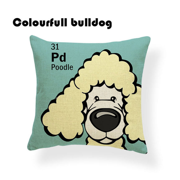Colorful Cartoon Dog Print Poodle 18 x 18 inch by Colorful Bulldog - Premium Pillow Store