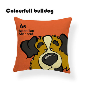 Colorful Cartoon Dog Print Australian Shepherd 18 x 18 inch by Colorful Bulldog - Premium Pillow Store