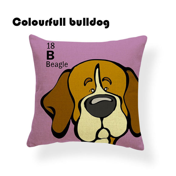 Colorful Cartoon Dog Print Beagle 18 x 18 inch by Colorful Bulldog - Premium Pillow Store