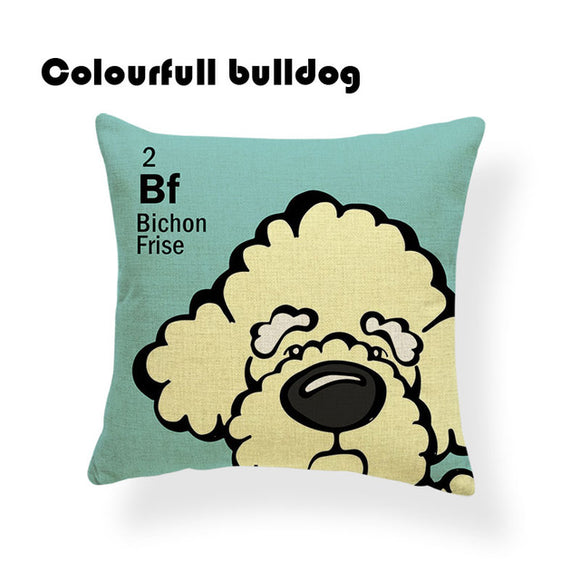 Colorful Cartoon Dog Print Bichon Frise 18 x 18 inch by Colorful Bulldog - Premium Pillow Store