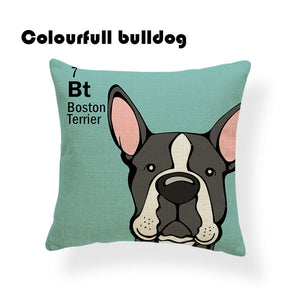Colorful Cartoon Dog Print Boston Terrier 18 x 18 inch by Colorful Bulldog - Premium Pillow Store