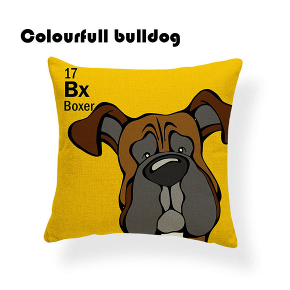 Colorful Cartoon Dog Print Boxer 18 x 18 inch by Colorful Bulldog - Premium Pillow Store