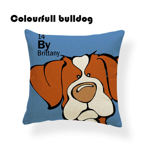 Colorful Cartoon Dog Print Brittany 18 x 18 inch by Colorful Bulldog - Premium Pillow Store