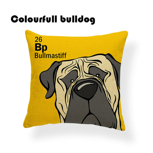 Colorful Cartoon Dog Print Bull Mastiff 18 x 18 inch by Colorful Bulldog - Premium Pillow Store
