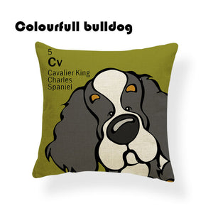 Colorful Cartoon Dog Print Cavalier King Charles Spaniel 18 x 18 inch by Colorful Bulldog - Premium Pillow Store
