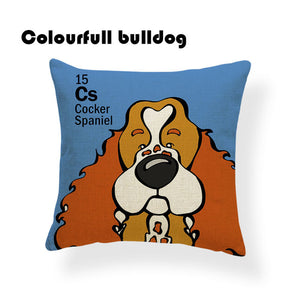 Colorful Cartoon Dog Print Cocker Spaniel 18 x 18 inch by Colorful Bulldog - Premium Pillow Store
