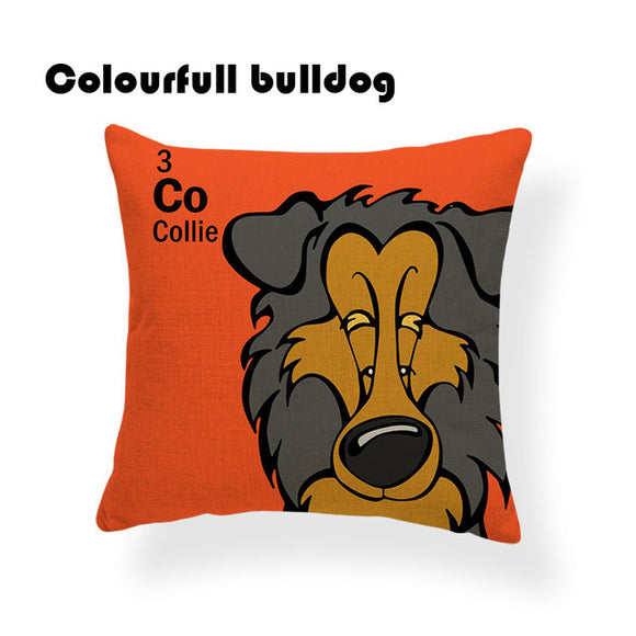 Colorful Cartoon Dog Print Collie 18 x 18 inch by Colorful Bulldog - Premium Pillow Store