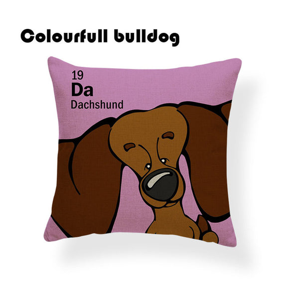 Colorful Cartoon Dog Print Dachshund 18 x 18 inch by Colorful Bulldog - Premium Pillow Store