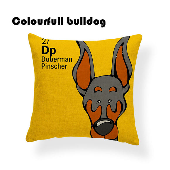 Colorful Cartoon Dog Print Doberman Pinscher 18 x 18 inch by Colorful Bulldog - Premium Pillow Store
