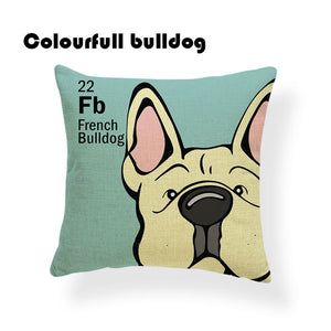Colorful Cartoon Dog Print French Bulldog 18 x 18 inch by Colorful Bulldog - Premium Pillow Store