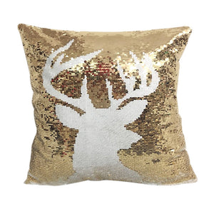 Deer Magic Reversible Sequins Glitter Pillow cover 16x16 - Premium Pillow Store