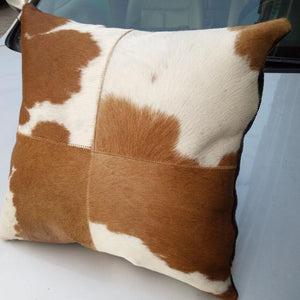 Top Quality Brown & Beige 100% Natural Cowhide Leather Pillowcase - Premium Pillow Store