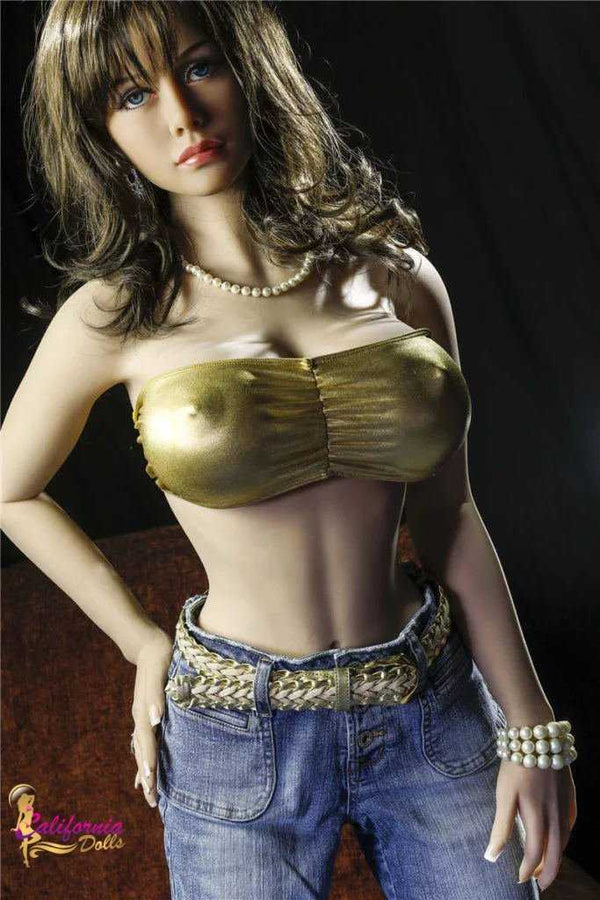 Sex doll wearing a pair of jeans.