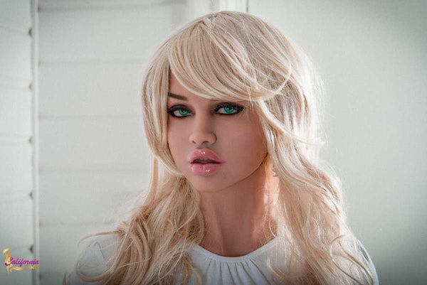 Blonde sex doll with beautiful green eyes.