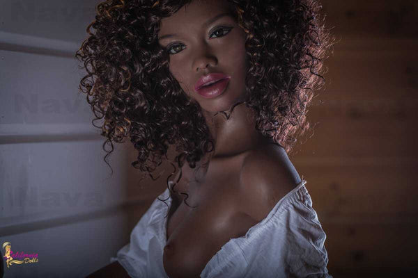 Black sex doll with dark brown eyes.