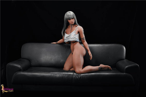 Black sex doll wearing only small top.