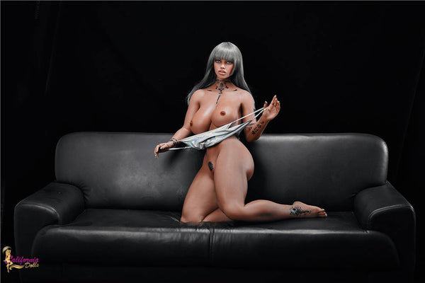 Black sex doll with small waist and large tits.