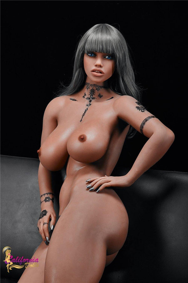 Black sex doll with shapely curvy body.