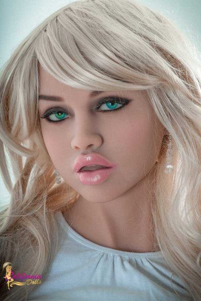Tall sex doll with beautiful facial features.