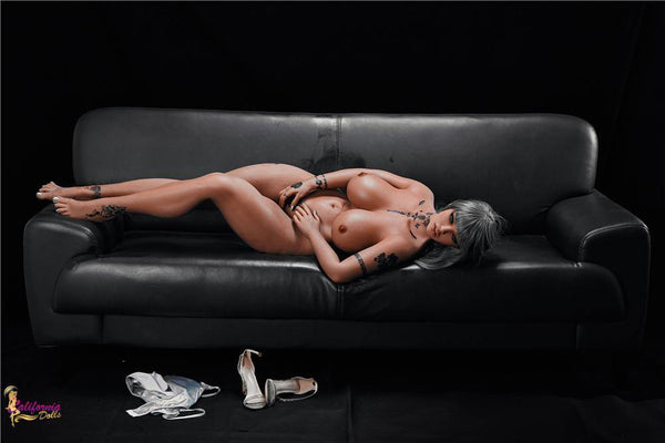 Nude black sex doll with beautiful toned body.