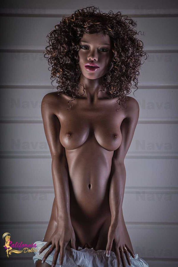 Nude slender black sex doll with pretty face..
