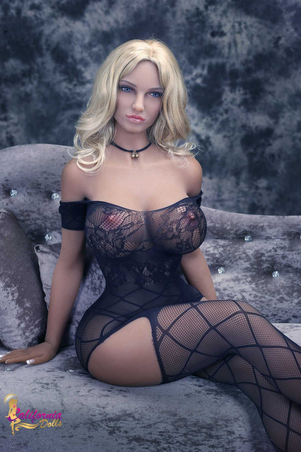 Blonde sex doll with boobs and nipples showing in lingerie.