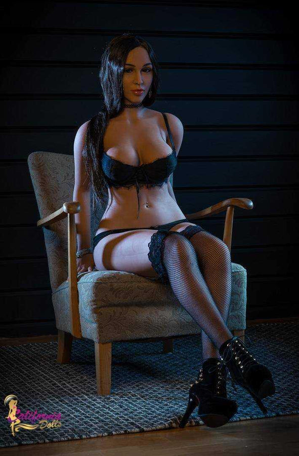 Erotic love doll wearing black bra and panties.