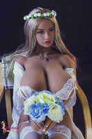 Huge Breast Sex Doll Luise Sitting on a Chair Wearing a Wedding Dress