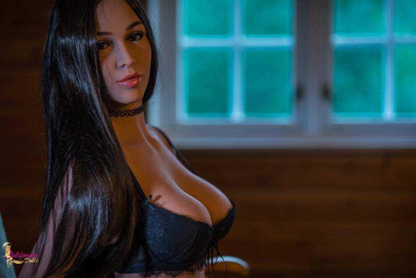 Sex doll with boobs held up by low cut bra.
