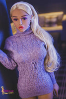 Sexy Blonde Sex Doll Lexi Wearing a Purple Dress