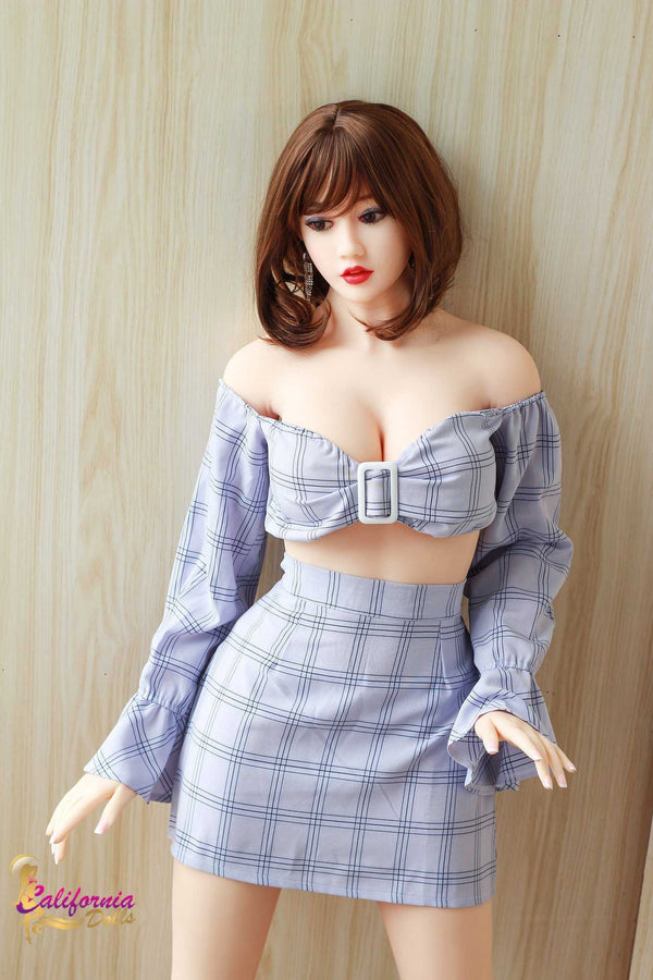 Sex doll with short brunette hair and gorgeous face.