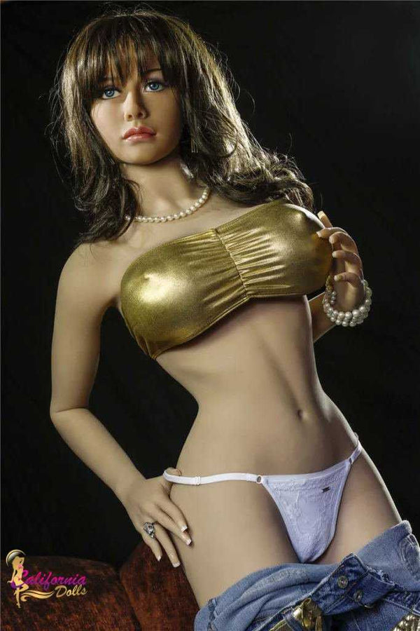 Love doll wearing small gold top and white thong
