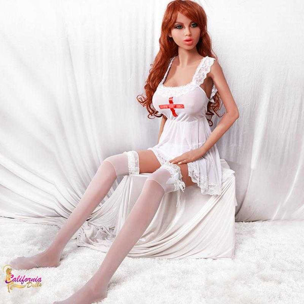 Tall redhead sex doll with with long slender legs.
