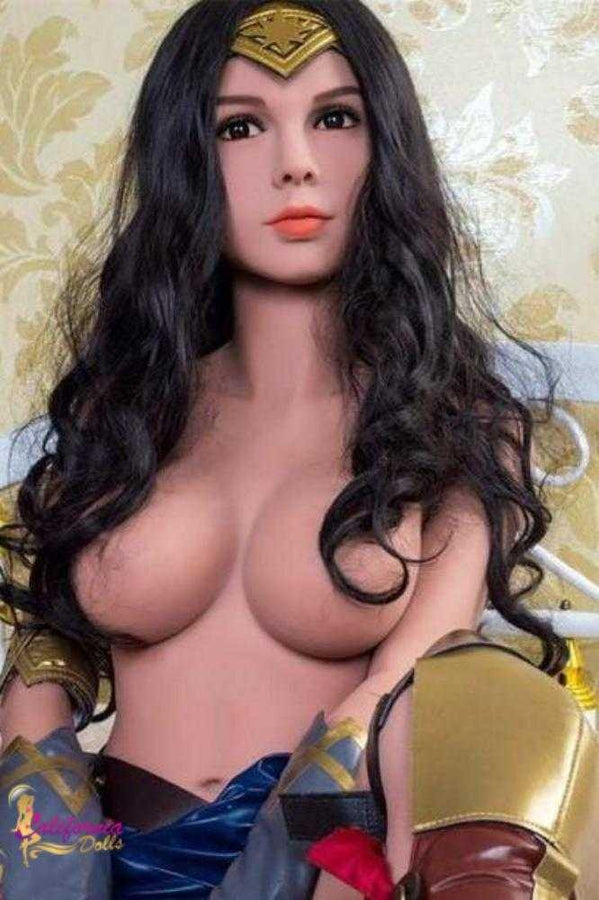 Tall sex doll with boobs barely covered by hair.