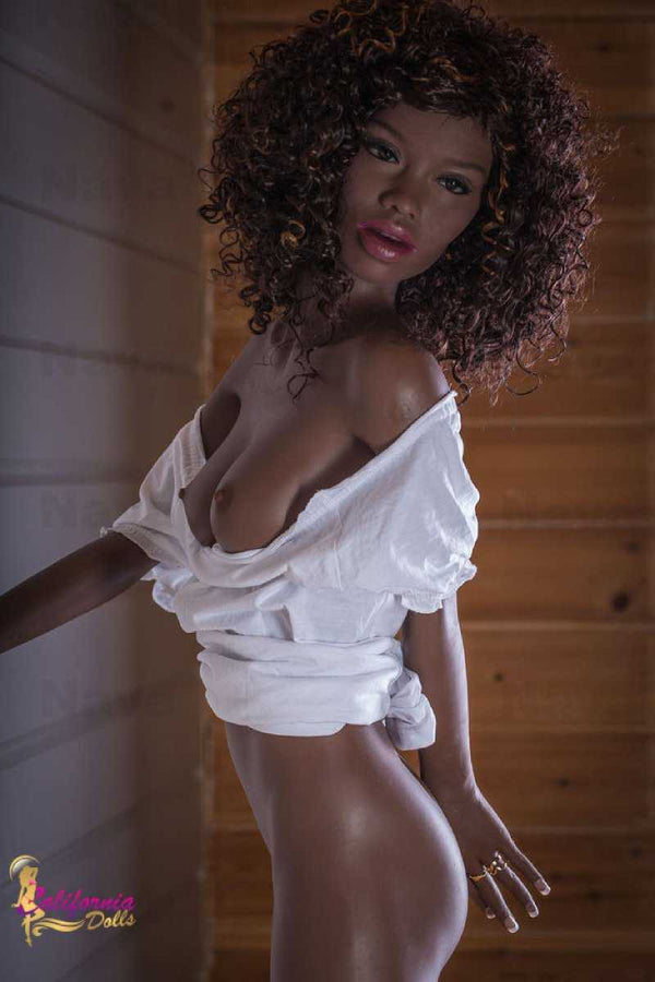 Black sex doll with curly redish black hair.
