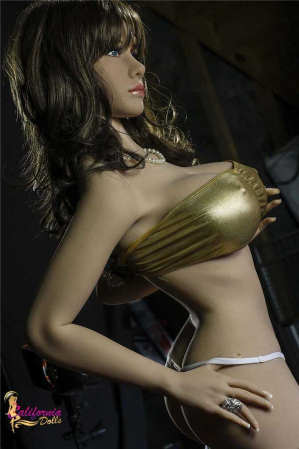 Sex doll with perky nipples under gold top