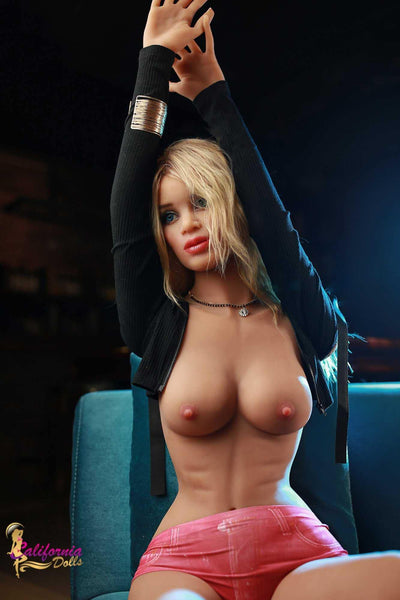 Topless blonde sex doll and gorgeous youthful breast.