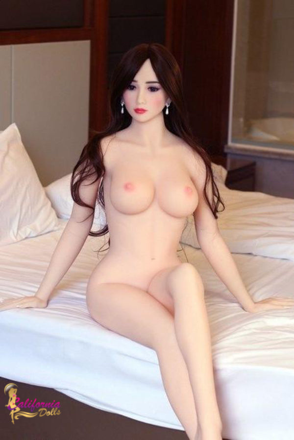 Nude sex doll and long hair covering shoulders.